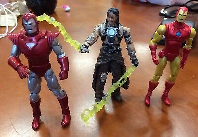 "Marvel Universe 3"" Figure Lot (3) WHIPLASH - IRON MAN (SILVER) & IRON MAN (60's)"