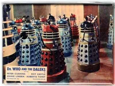 """OFFICIAL METAL 3.5"""" X 2.5"""" Doctor WHO and the  DALEKS MOVIE JUMBO FRIDGE MAGNET"""