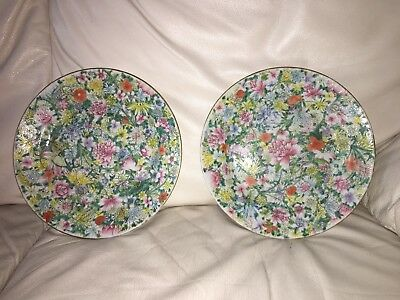 Pair Of Antique Chinese Famille Rose Mille Fleur Porcelain Plates - Marked