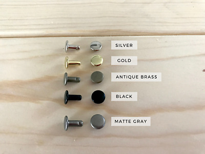 Double Cap Rivets in: Silver, Gold, Black, Antique Brass, and Matte Gray