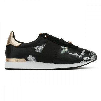 8b7d15c30941 Ted Baker Emileio Womens Black Narnia Jacquard Trainers UK Sizes  3-8