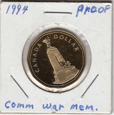 1994 $1 Canada - War Memorial Proof Loonie Dollar from Mint Set UHCameo Loon GEM