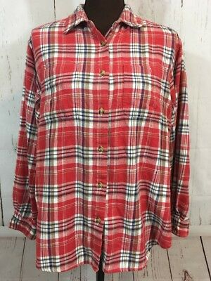55b31f841 Cabin Creek Flannel Shirt Womens Size Large Red Blue Plaid Long Sleeve