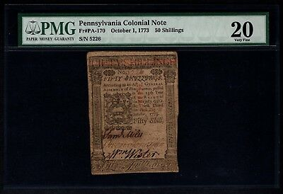 1773 Pennsylvania Colonial Note PMG 20 Fr.PA-170 50s Shillings Item #5000432-010