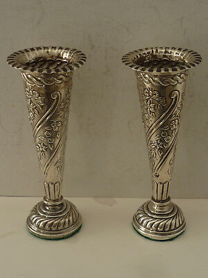 Pair Ornate Solid Sterling Silver Vases - William Comyns - London 1896