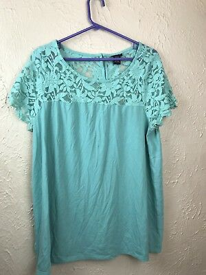 987d6357cd1ae Torrid Womens Solid Blue green Short Sleeve Top Lace Detail Size 1 1X Plus  Size
