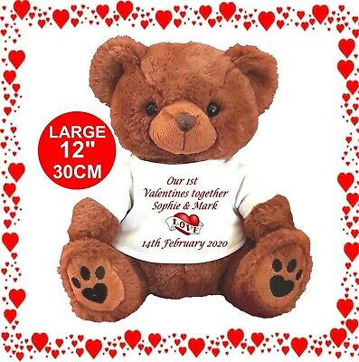 """PERSONALISED Brown Teddy Bear 25cm/10"""" sitting VALENTINES DAY OUR 1ST TOGETHER"""