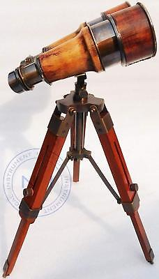 Nautical Antique Vintage Working Binocular With Wooden Stand Office Decor