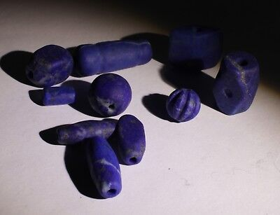 10 Ancient Carved Lapis  Beads - No Reserve 022