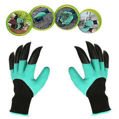 Garden Gloves Digging Planting with 4 ABS Plastic Claws Gardening Gloves Green