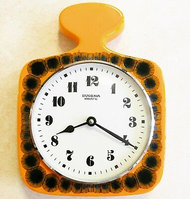 70s Wall Clock Orange Fat Lava Vintage Ceramic Kitchen Clock Mid Century Retro
