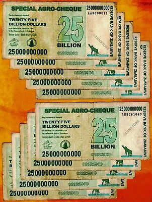 10 x 25 Billion Zimbabwe Dollars Bank Notes Agro-Cheque Paper Currency Lot 10PCS