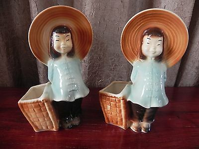 Vintage Royal Copley Pottery Ceramic Chinese Asian Oriental Girl Planters