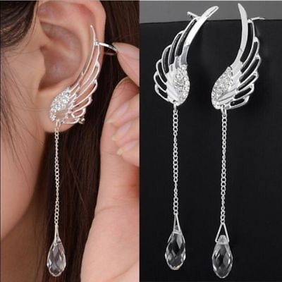 Women 925 Sterling Silver Crystal Angel Wings Hoop Dangle Earrings Jewelry Gift