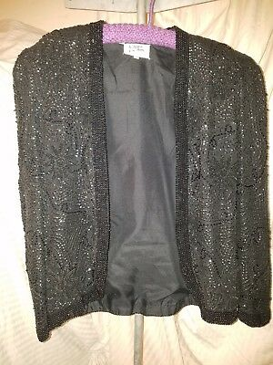 Night Line evening jacket black sequined beaded 100% silk women's size small