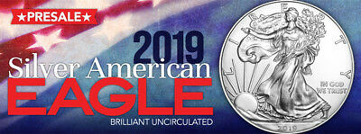 2019 1 Oz. American Silver Eagle $1 Coin  ***fresh From Mint Roll***   Pre-Sale