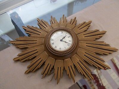 Large Art Deco Original Metamec Electric Wall Clock/dereham Norf.sunburst Clock