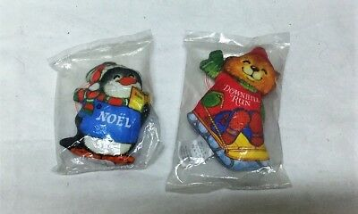 2 Hallmark 1980 Shirt Tales Christmas Trimmers Fabric Ornament Sealed! NEW!!