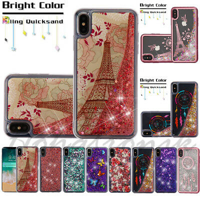 For Apple iPhone XR Bling Hybrid Rubber Liquid Glitter Protector Thin Case Cover