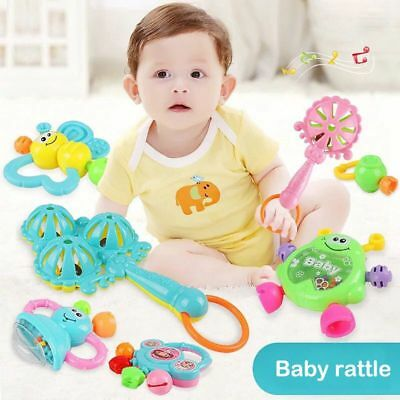 Set of 7 baby teether rattle baby rattle newborn baby 0-1 educational toys L2V8