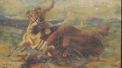 Yak hunter, Mongolia rider, very old Asian painting 19th century excellent paint