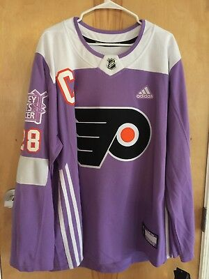 Flyers /adidas Hockey Fights Cancer #28 Giroux Purple Jersey 2Xl-New Authentic