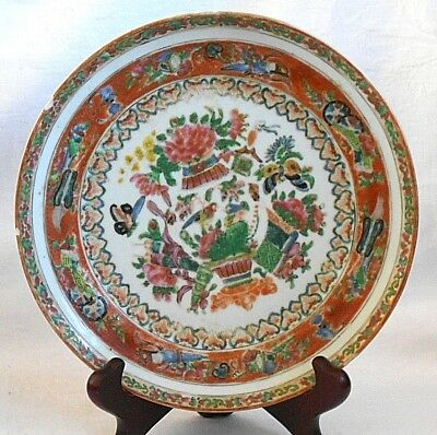 C19Th Chinese Famille Rose Canton Plate Decorated With Flowers And Butterflies