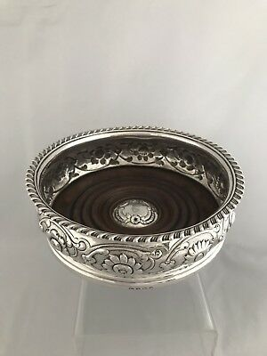 Large George III Crested Silver Wine Coaster c1810 London
