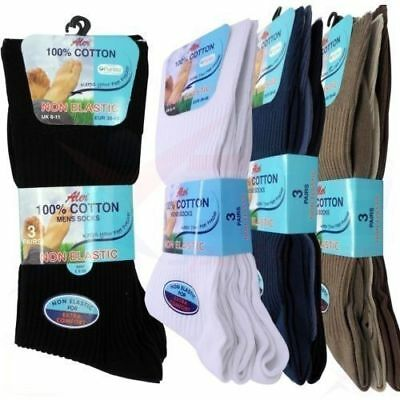 12 Men Non Elastic SOCK 100% Soft Cotton Loose Top Diabetic Socks Size 6-11 Aler
