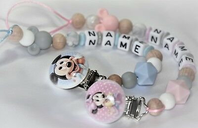 Personalised Dummy Clip / Mickey & Minnie Dummy Clip / Wooden & Silicone Chains