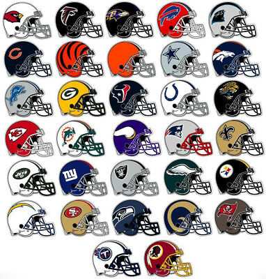 NFL Helm Sticker / Aufkleber - American Football - 8,5 x 6,5 cm - Alle Teams