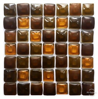 Brown Eco#Nature Fused Glass Mosaic Tiles Sheets Borders Hand-made