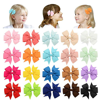 20 PC 3'' Unicorn Bows Tie Girls Large Hair Bows Elastic Bands Alligator Clips