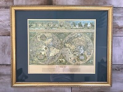 Framed Vintage Gold Foil  Blaeu Wall Map 22.75 X 18.5