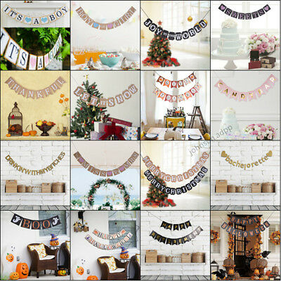 Various Letter Wedding Halloween Bunting Banner Flag Garland Party Hanging Decor