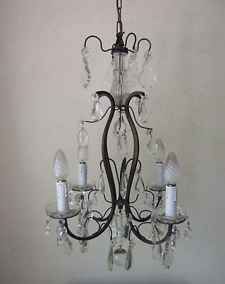 Classic Antique  French Bronze With Crystal Drops 4 Branch Chandelier 1900