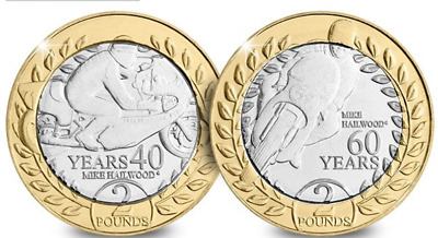 Setx2 NEW coins 2018 Isle of Man TT Race £2 Two Pounds Mike Hailwood Unciculated