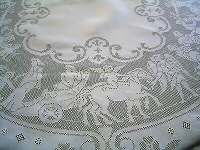 """Antique Figural Italian Buratto 68"""" - 70"""" Round Tablecloth """"angels & Chariots"""""""