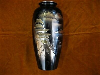 Vintage Signed Meiji Chokin Mixed Metal Japanese Vase with Mountains and Pagoda