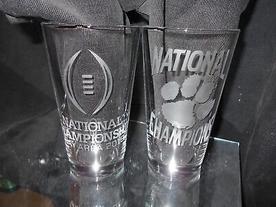 2018/2019 Ncaa Football Nationial Champion Clemson Tigers Etched 2 Pint Glasses