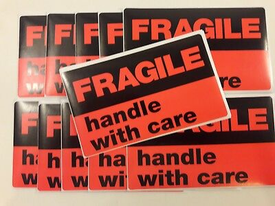 """12 LARGE 3""""x5"""" Neon Orange FRAGILE HANDLE WITH CARE Stickers Label FREE SHIPPING"""