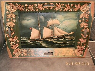ANTIQUE WOODEN SERVING TRAY W/ OIL PAINTING OF SHIP ( 16 Star Flag )