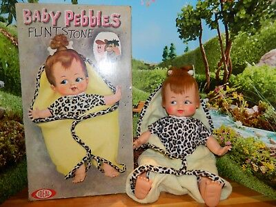 "VINTAGE 1960's PEBBLES FLINTSTONE DOLL 16"", + BOX, Hanna-Barbera & Ideal Toys"