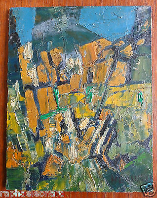 Rare Tableau Abstrait Henri DARNAUD. TRIEVES. Vintage Abstract Oil Painting.