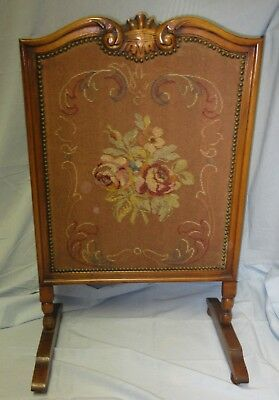 Antique Needlepoint Firescreen