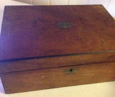 Vintage Wooden Writing Slope For Repair Brass Plaque, Lock, Escutcheon
