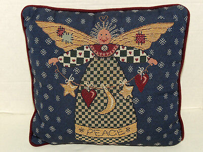 Vintage Folk Art Style Peace Angel Pillow Decorative Denim Blue & Velvety Maroon