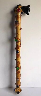 """Wooden Shaker Instrument Axe Shaped With Stones Clay Inlay 24"""""""