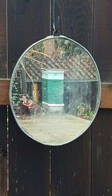 Rustic Crafted Folk Art Vintage Ranch Style Oval Mirror From Galvanized Tin Lid