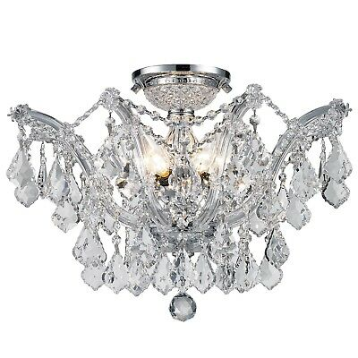 """CLEARANCE SALE Maria Theresa 6 Light Clear Crystal Flush Mount Ceiling D20"""" H15"""""""